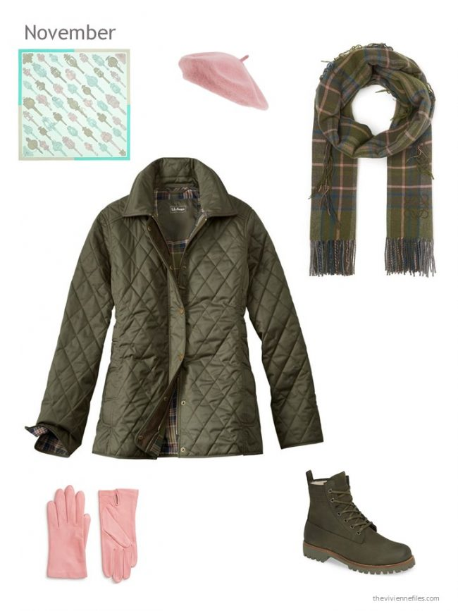 13. olive winter jacket with pink and olive accessories
