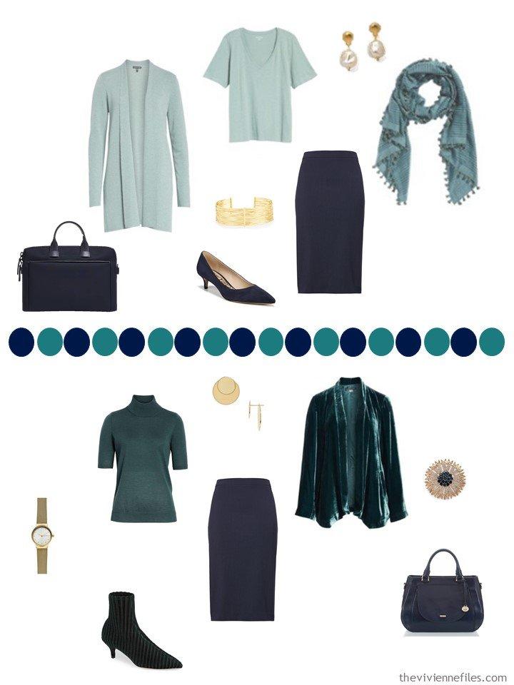 14. 2 ways to wear a navy skirt in a capsule wardrobe