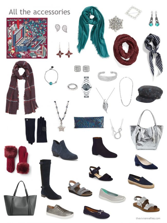 14. accessories for a capsule wardrobe based on navy and grey
