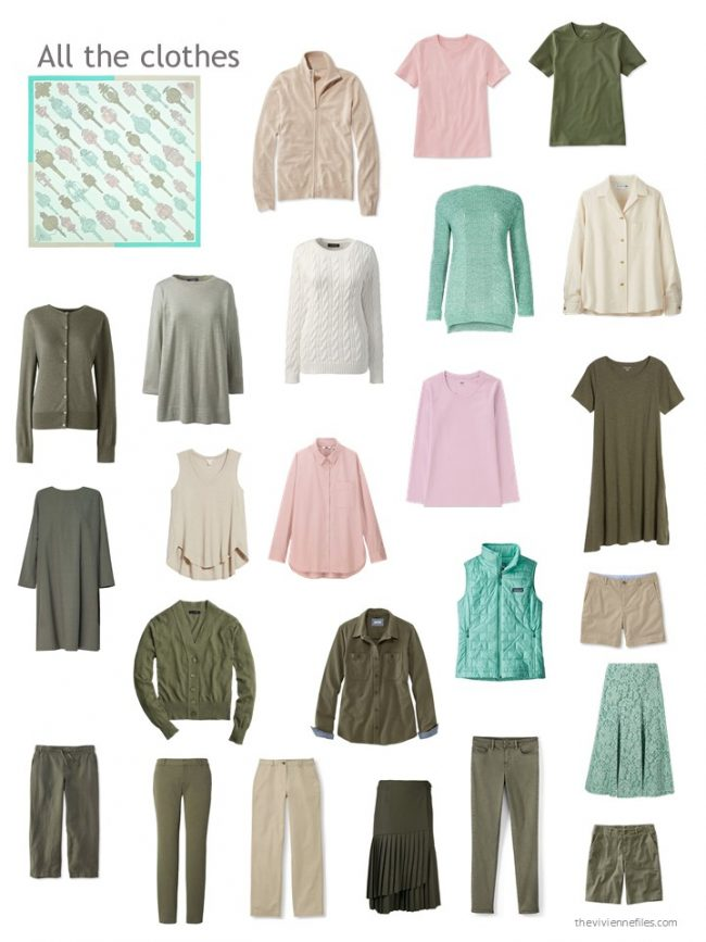 14. pink, green, olive and beige capsule wardrobe