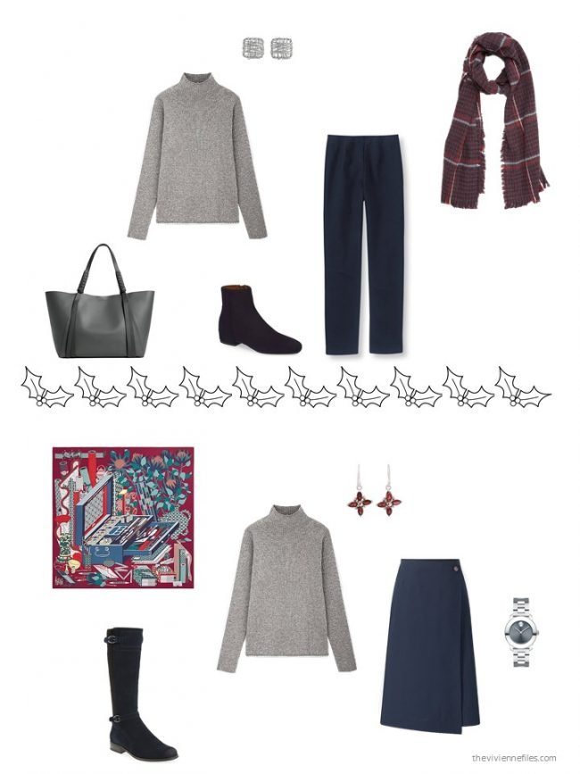 15. 2 ways to wear a grey sweater from a capsule wardrobe