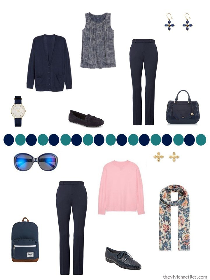 15. 2 ways to wear navy pants in a capsule wardrobe