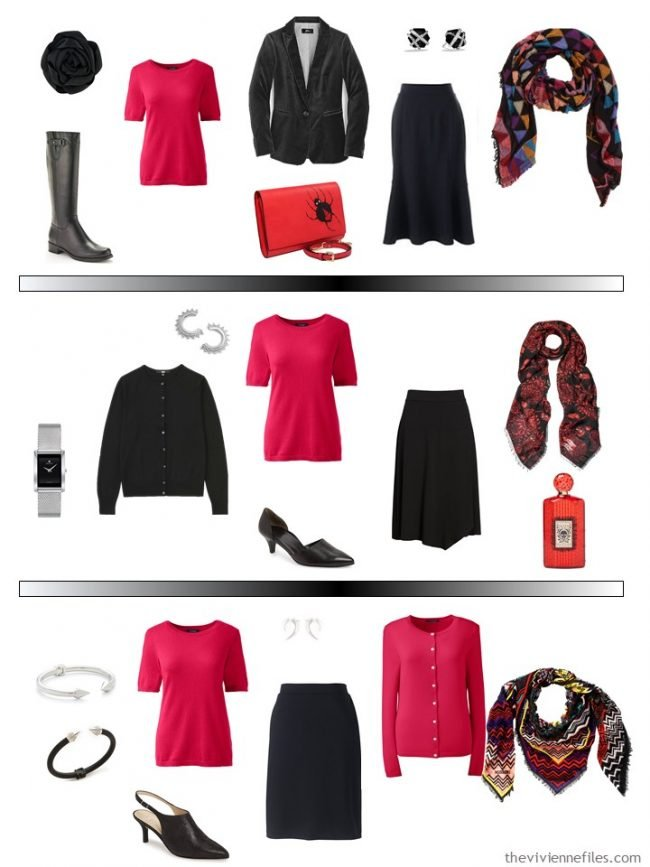 15. 3 ways to wear a red short-sleeved sweater in a capsule wardrobe