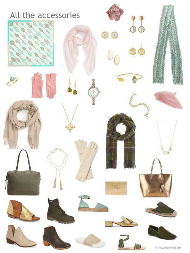 15. accessories for an olive and beige capsule wardrobe