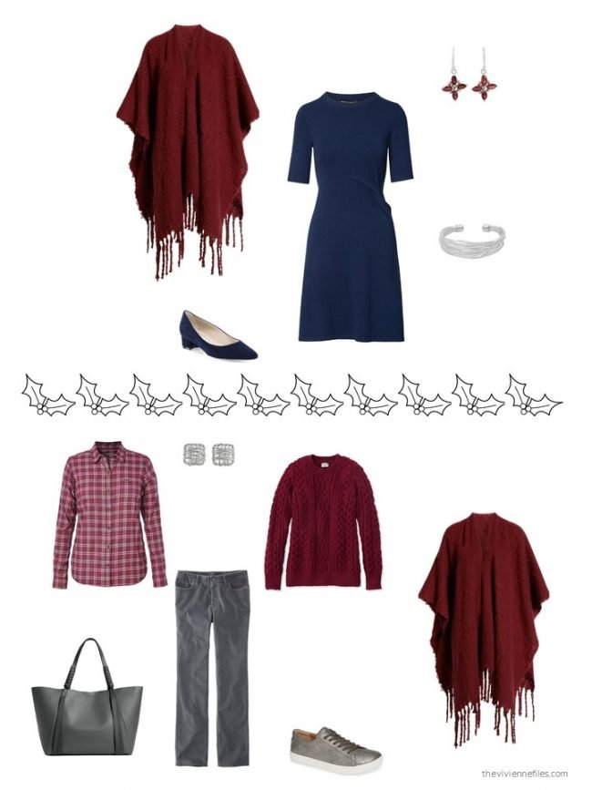 16. 2 ways to wear a cranberry poncho from a capsule wardrobe