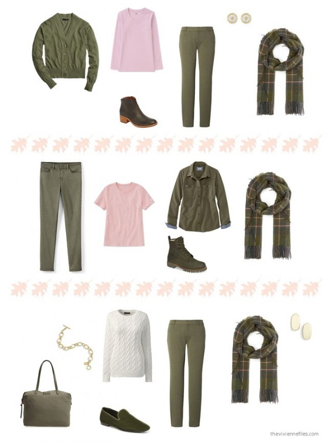 16. 3 ways to wear an olive plaid scarf from a capsule wardrobe