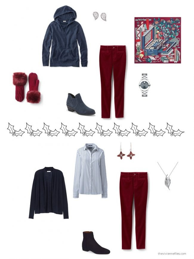 17. 2 ways to wear cranberry velvet jeans from a capsule wardrobe