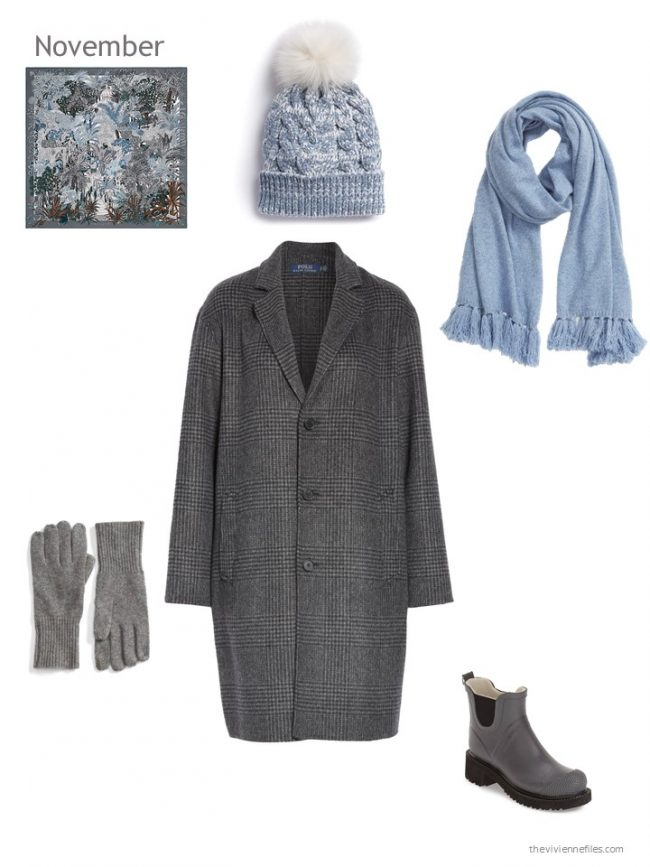 17. grey plaid winter coat with light blue and grey accessories