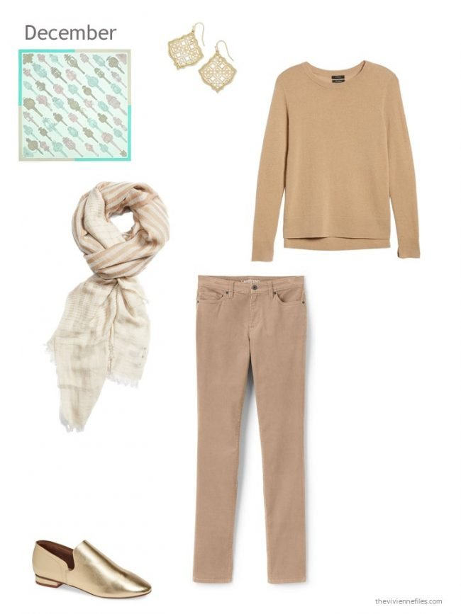 18. camel and gold relaxed holiday outfit