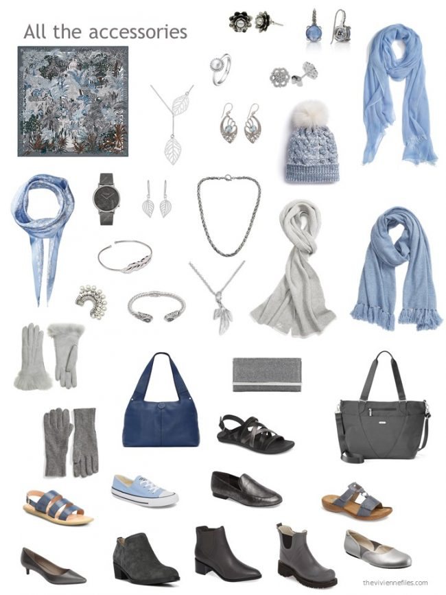 19. accessories for a blue and grey capsule wardrobe