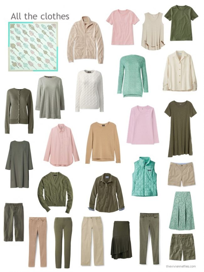 19. capsule wardrobe in olive, green, beige and pink