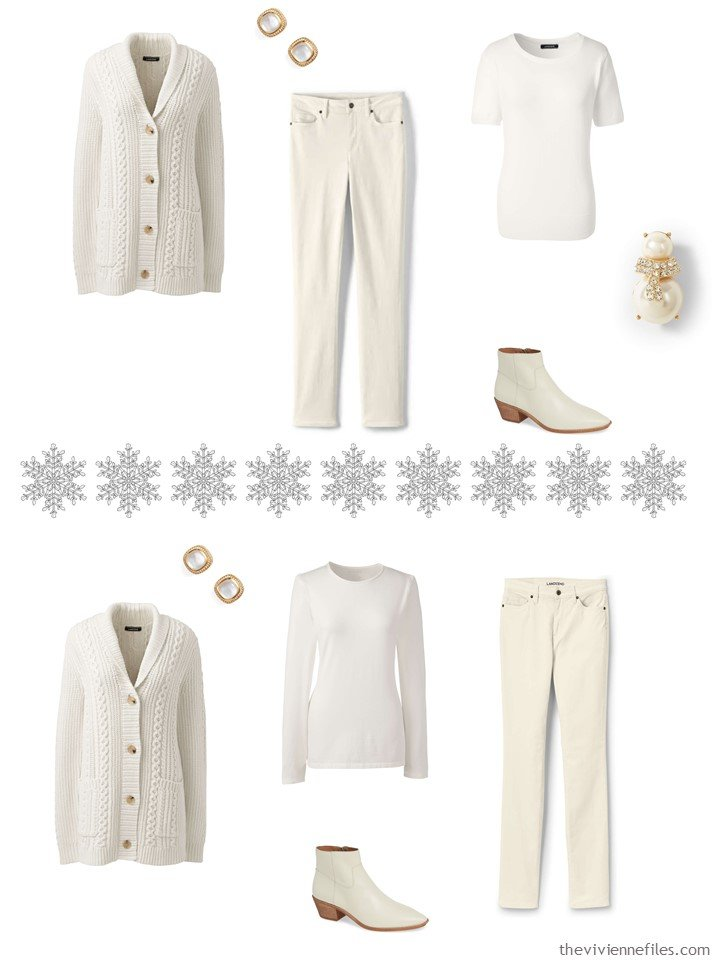 2. 2 outfits from a winter white wardrobe cluster