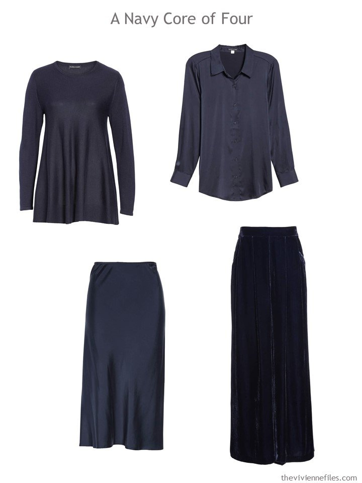 2. Eileen Fisher midnight blue wardrobe Core of 4