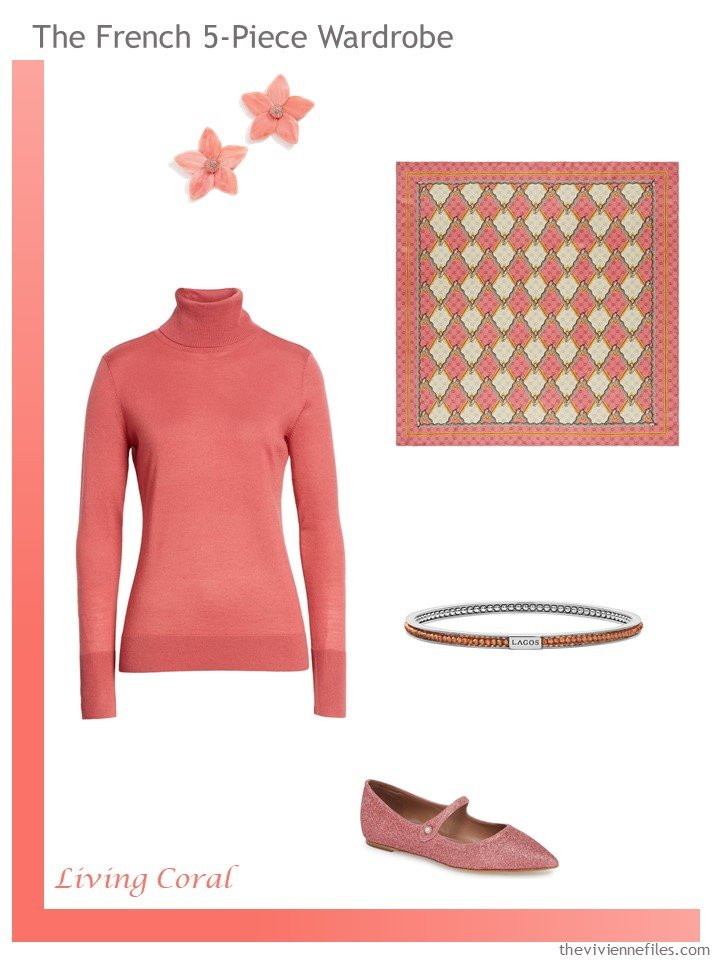 2. Living Coral French 5-Piece Wardrobe