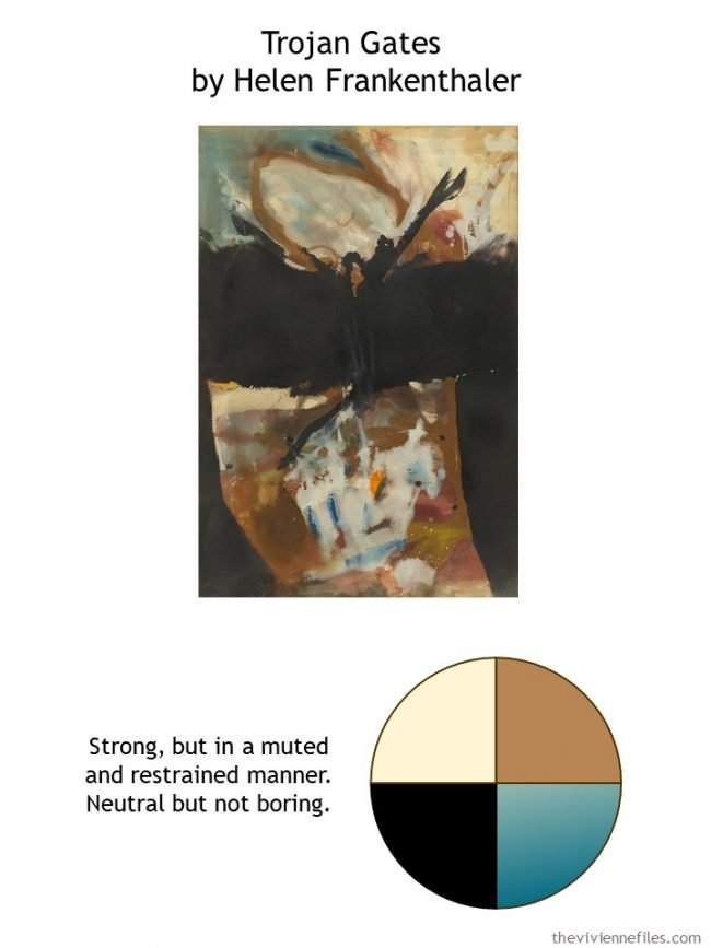 2. Trojan Gates by Helen Frankenthaler with style guidelines and color palette