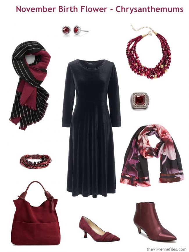 2. black dress accented with wine red