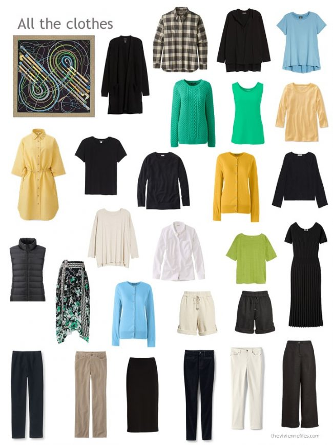 2. capsule wardrobe in black, blue, yellow and white