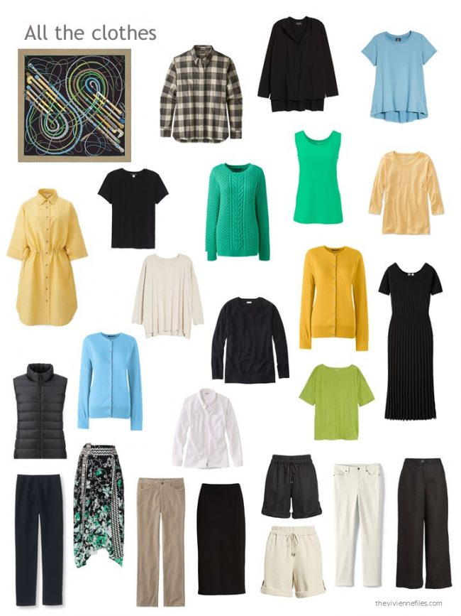 2. capsule wardrobe in black, ivory, yellow, green and blue