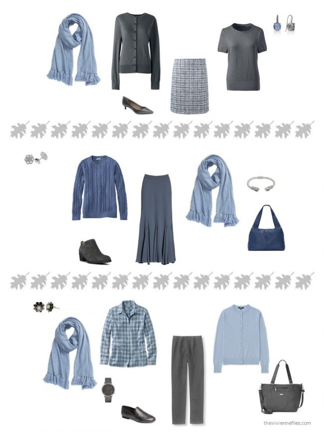 20. 3 ways to wear a light blue scarf from a capsule wardrobe