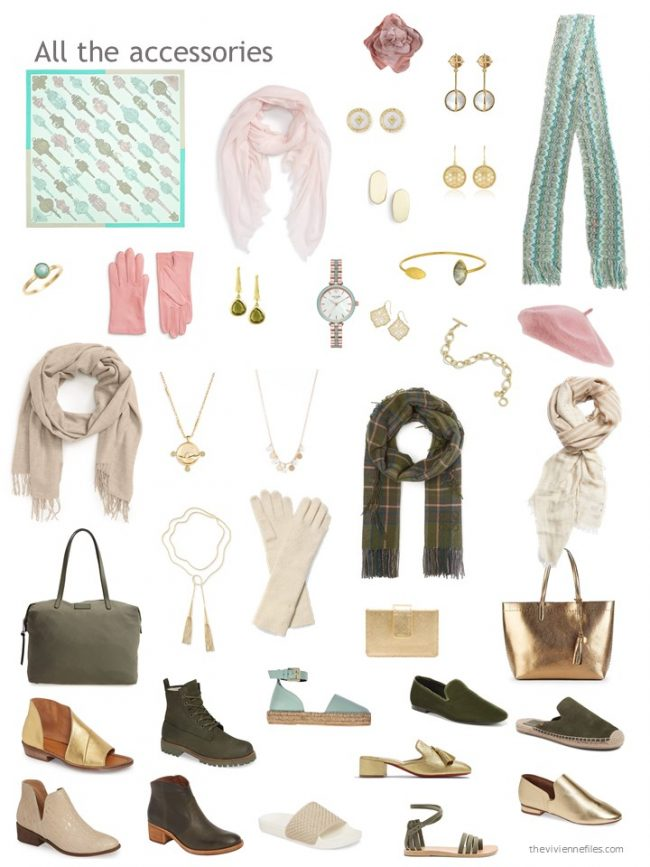 20. accessories for a capsule wardrobe based on olive and beige