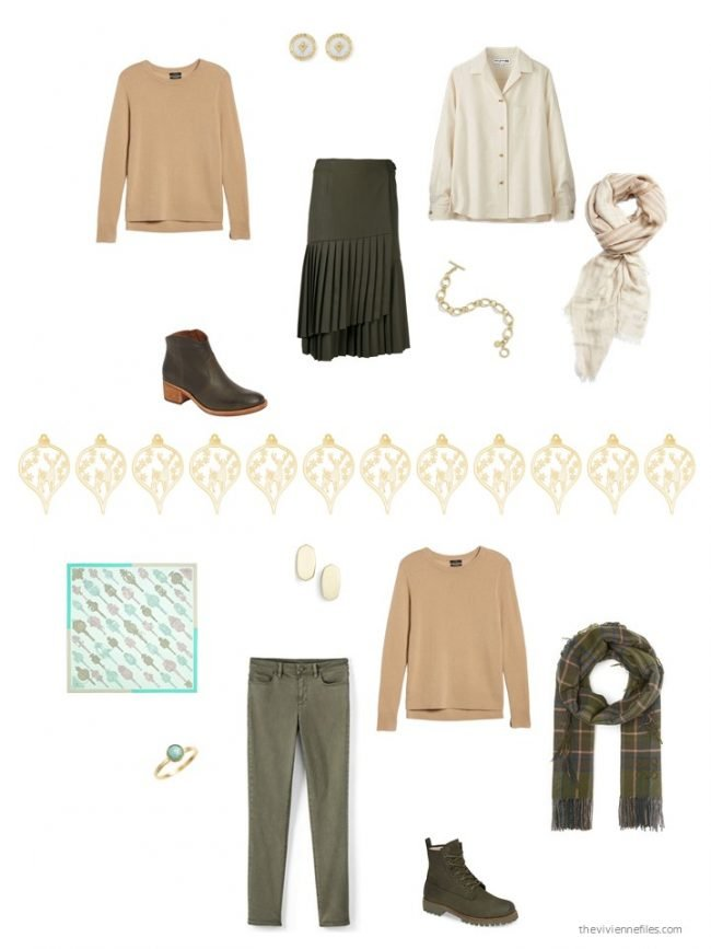 21. 2 ways to wear a camel sweater from a capsule wardrobe