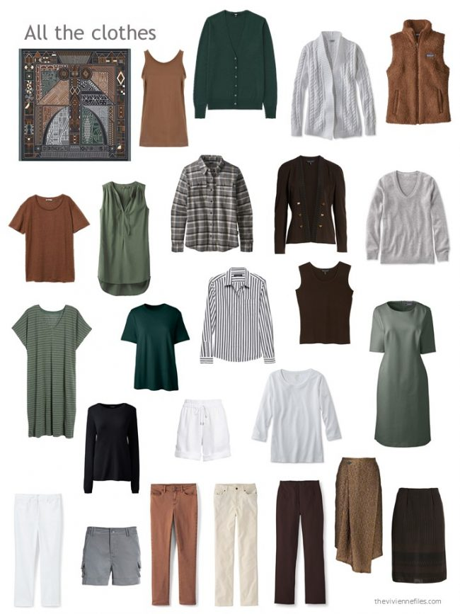 22. black, brown, grey and green capsule wardrobe