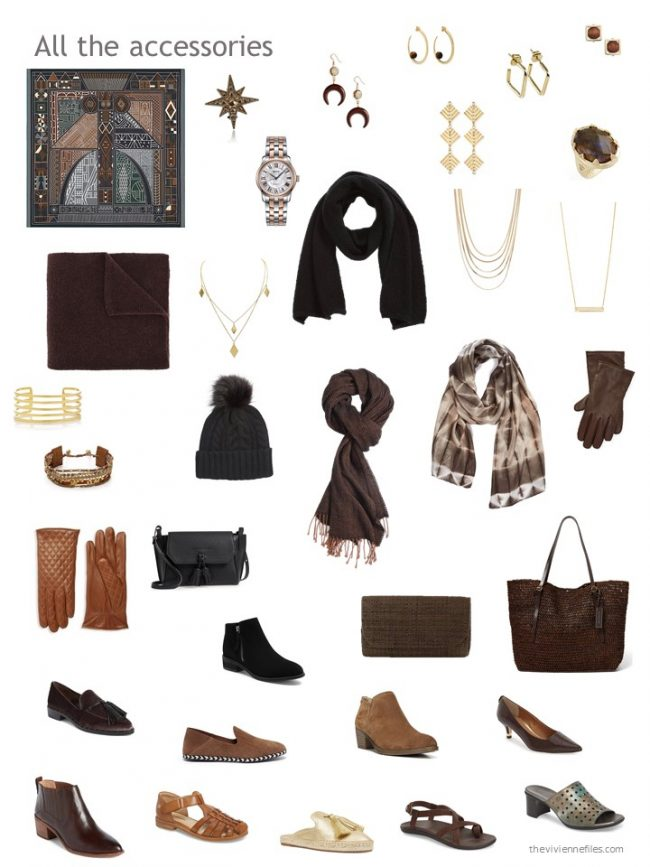 23. accessories for a black and brown capsule wardrobe
