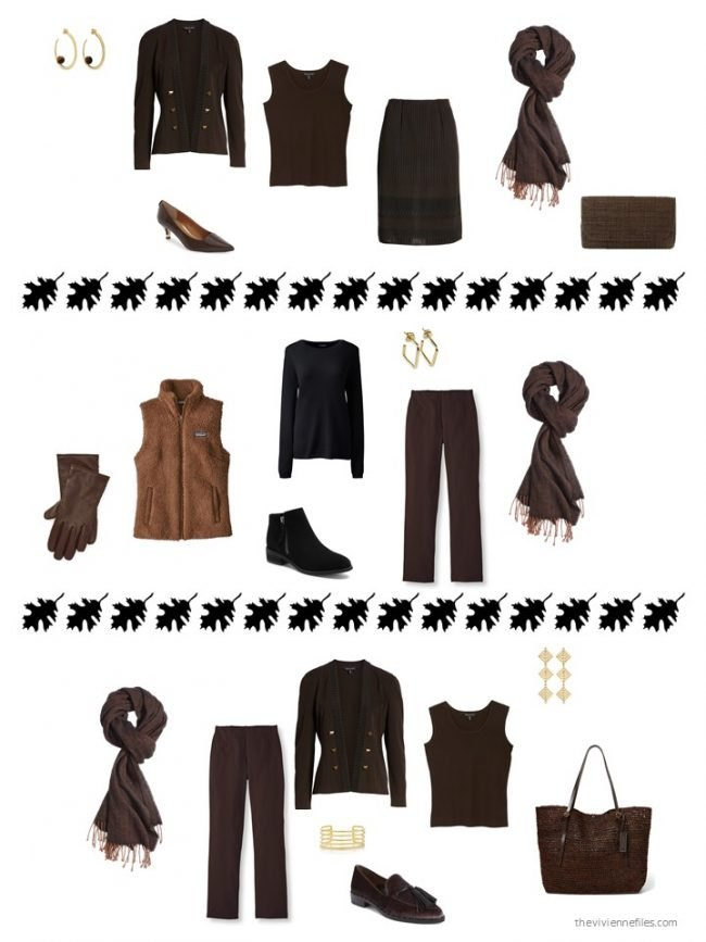 24. 3 ways to wear a black & brown winter scarf from a capsule wardrobe