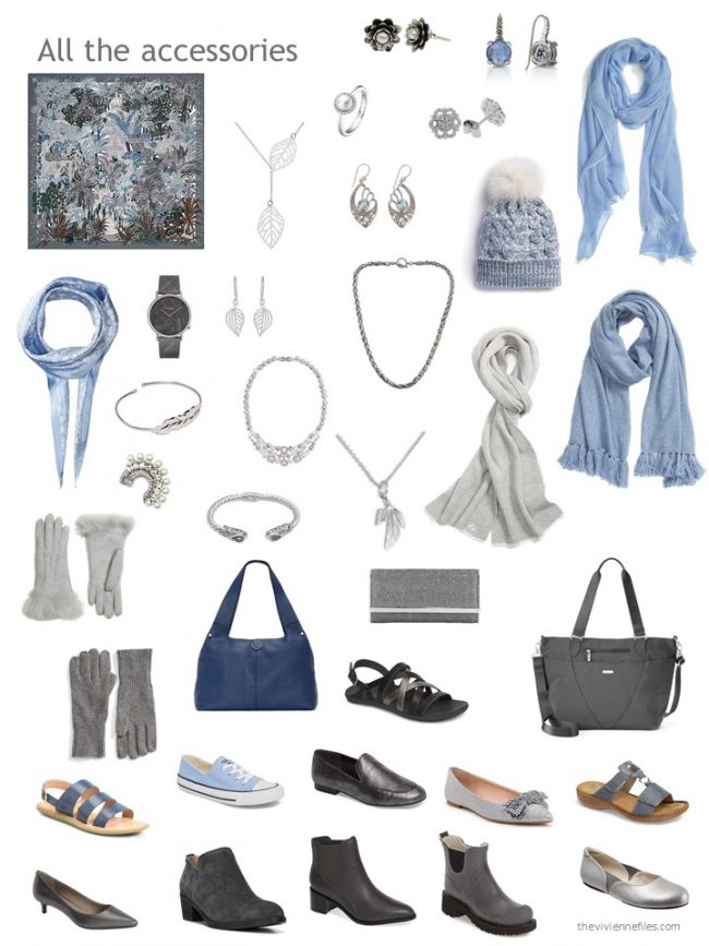 25. accessories for a grey and blue capsule wardrobe