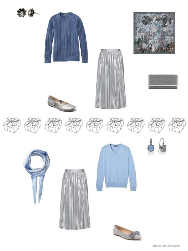 28. 2 ways to wear a silver pleated skirt from a capsule wardrobe