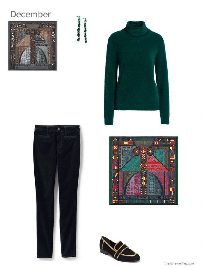 29. green and black holiday outfit
