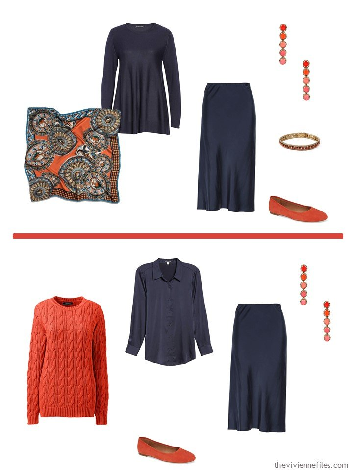 3. Midnight blue skirt accented with Fiesta Orange