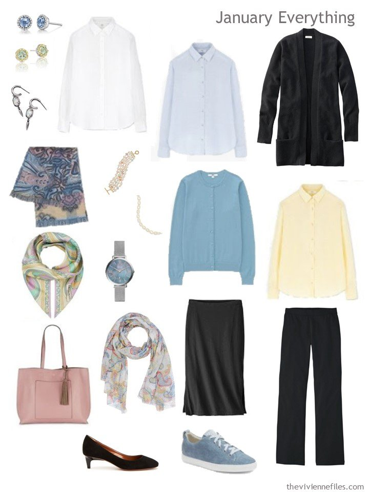 3. Travel capsule wardrobe in black, white and pastels