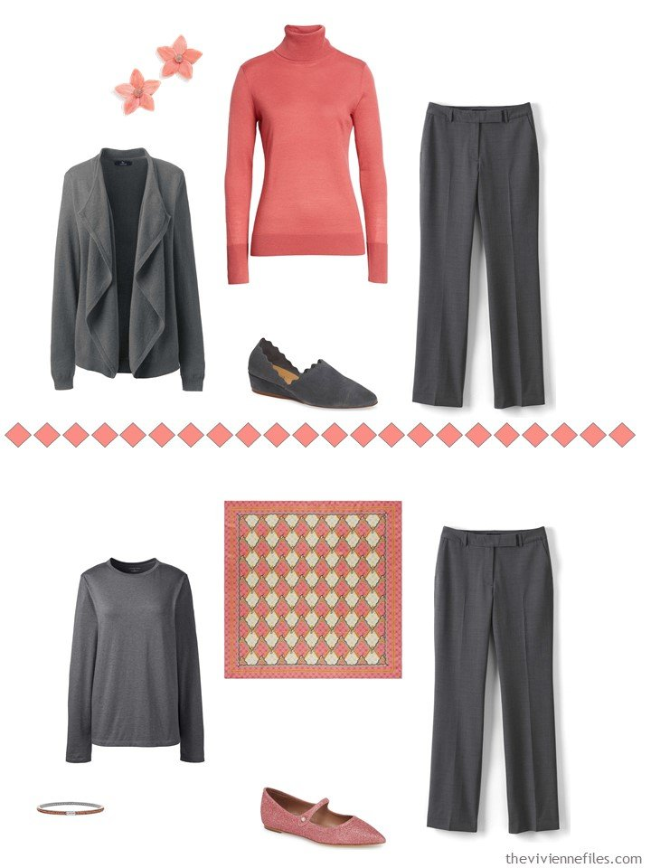 3. accessorizing charcoal grey pants with Living Coral