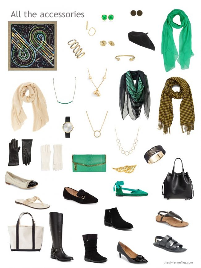 3. black, green and yellow accessories