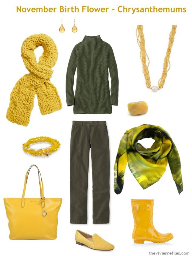 3. olive pants and sweater accented with gold