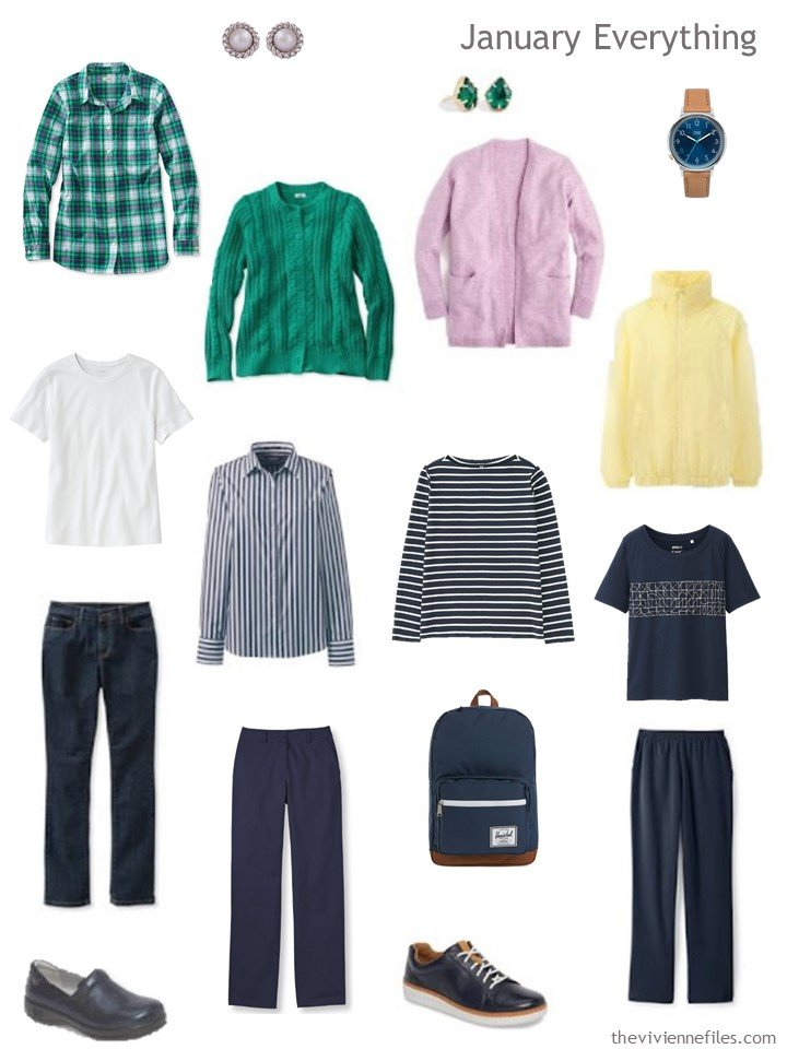 3. travel capsule wardrobe in navy with green, pink and yellow