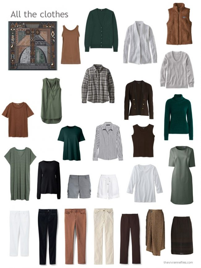 30. capsule wardrobe in brown, black, green, grey and white