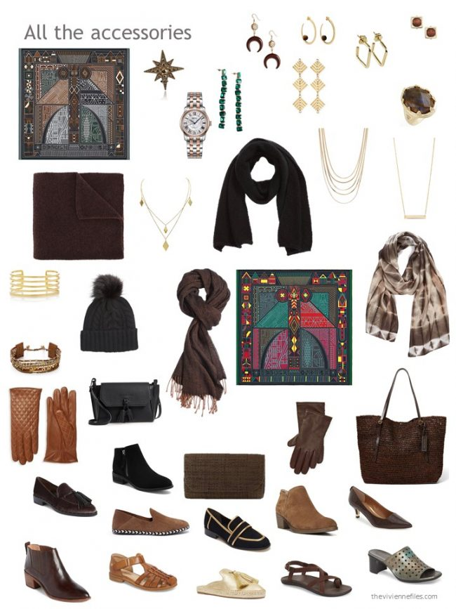 31. accessories for a capsule wardrobe based on brown and black