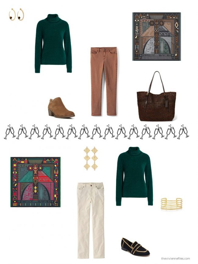 32. 2 ways to wear a green sweater from a capsule wardrobe