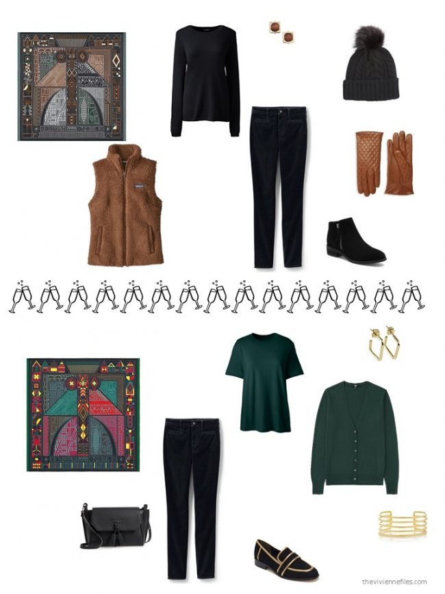 33. 2 ways to wear black velvet jeans from a capsule wardrobe