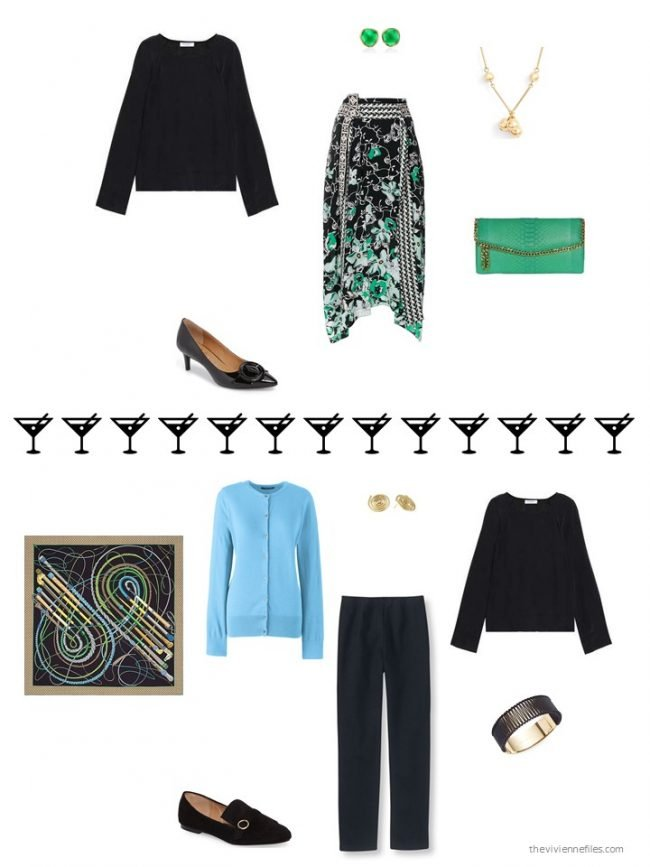 4. 2 ways to wear a black silk tee from a capsule wardrobe