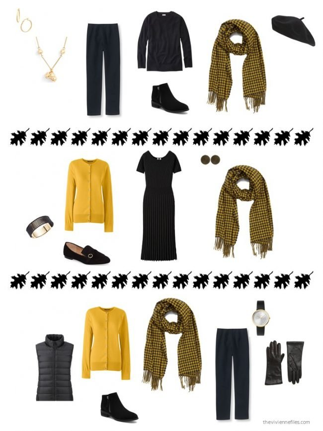 4. 3 ways to wear a black and yellow scarf from a capsule wardrobe