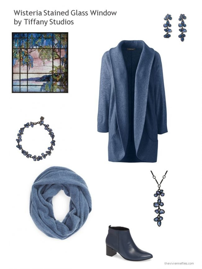 4. Blue cardigan and accessories