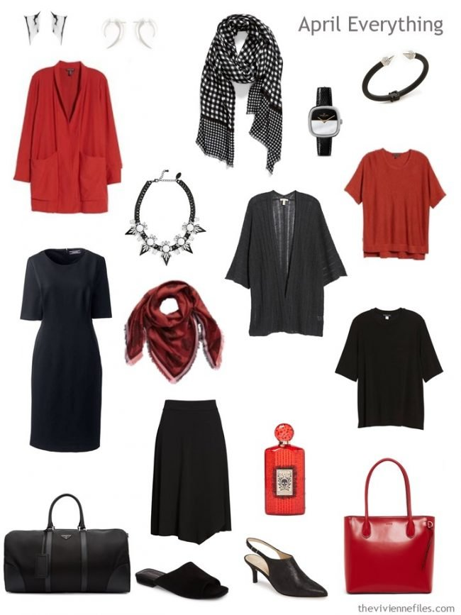 4. Capsule Travel Wardrobe for April in black and red