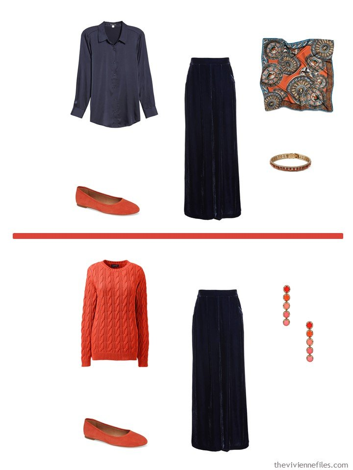 4. Midnight blue pants accented with Fiesta Orange