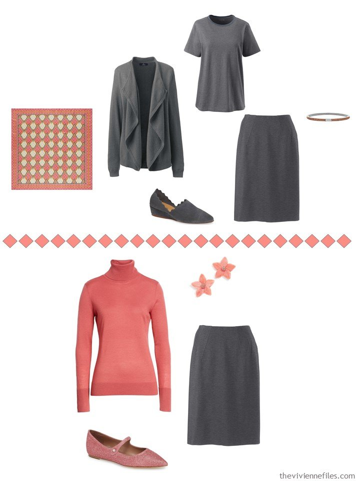 4. accessorizing a charcoal grey skirt with Living Coral