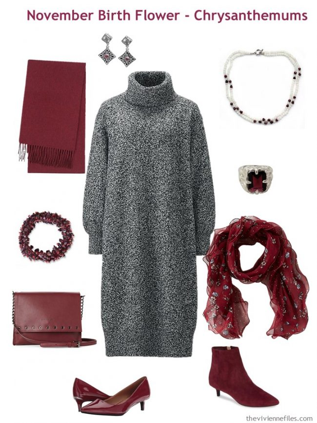 4. grey dress accented with wine red