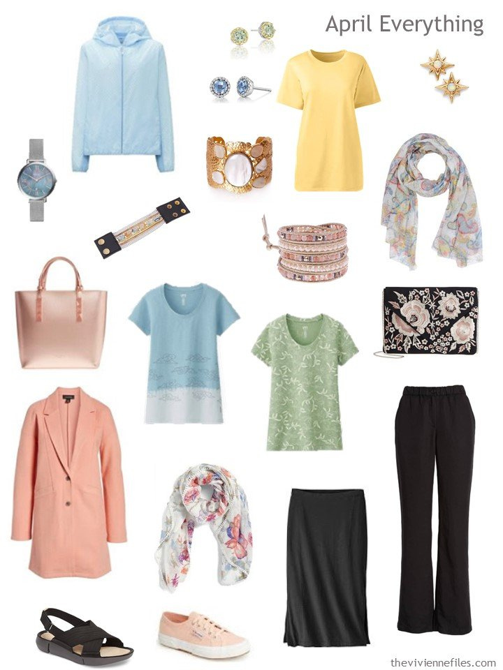 4. travel capsule wardrobe in black, white and pastels