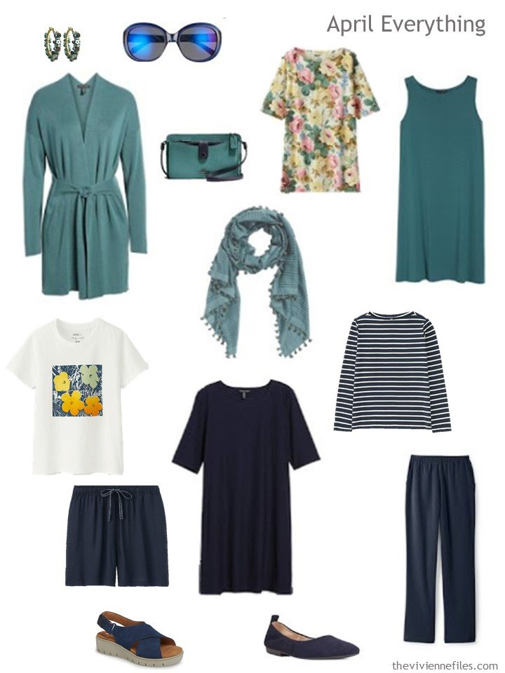4. travel capsule wardrobe in navy and teal